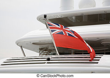 Yacht stern - The British Red Ensign flag of the Royal...