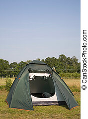 Tent pitched in a campsite in the New Forest, England.