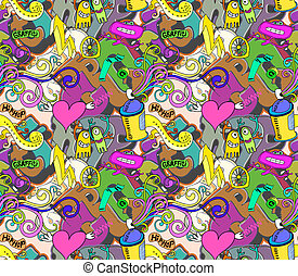 Graffiti background Urban art seamless vector design
