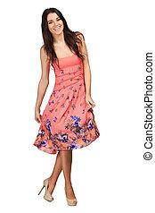 Beautifull woman in pink skirt