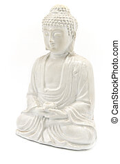 White Buddha isolated on white background