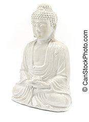 White Buddha isolated on white background