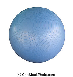 Swiss ball isolated - Blue swiss ball isolated against a...