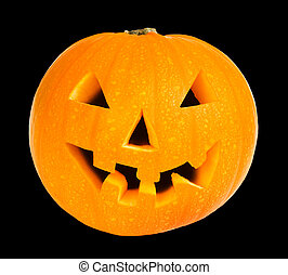 Halloween pumpkin isolated on a black background with...