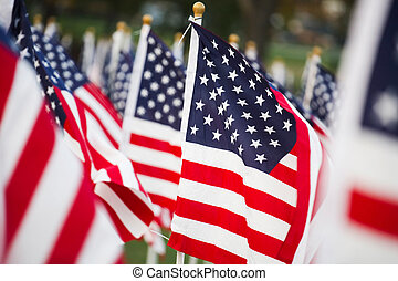 American flags - American stars and stripes flags in detail