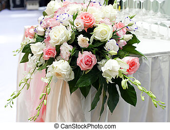 beautiful rose flower on the wedding. - rose flower on the...