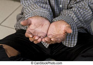 a, mãos, mendigo