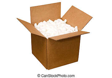 Shipping Box - Shipping box with packing peanuts isolated on...