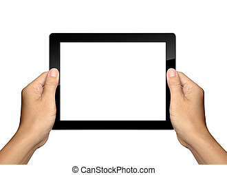 hands are holding and point on white Tablet PC Isolated -...