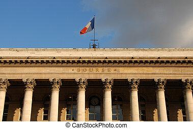 Paris Stock Exchange, in a blue sky with cloud, Paris,...