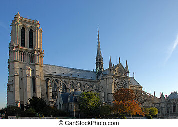 Notre Dame de Paris, in autumn light, one of the most...