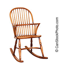 Rocking chair - Wooden rocking chair isolated against a...