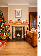 Christmas at home - Christmas scene in a living room with...