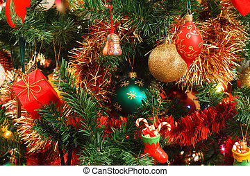 Christmas decorations on tree