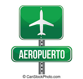 Road sign shows direction of a nearby airport