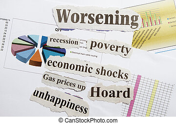 Financial crisis with cut out and graphical background.