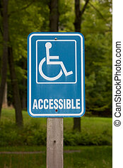 "Accessible Disabled Parking Sign - Light blue ""accessible""..."