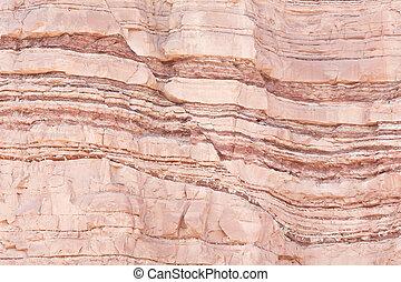 Fault in sandstone strata deformation - Detail of geological...