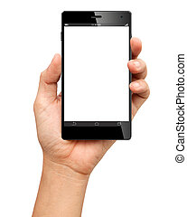 Hand holding A Big Screen Smartphone with blank screen on...