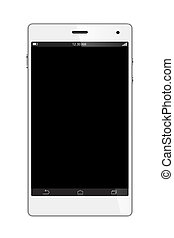 White Smart Phone with blank screen on White background