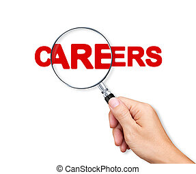 Careers Search with a magnifying glass on white background