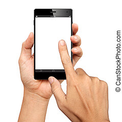 Hands are holding and point on A Big Screen Smart Phone on...