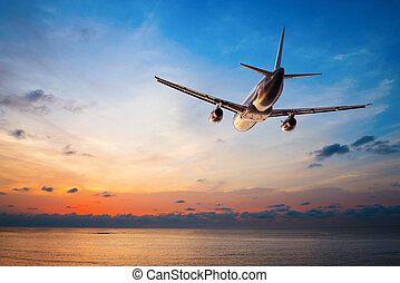 Airplane flying at sunset - Airplane flying above tropical...