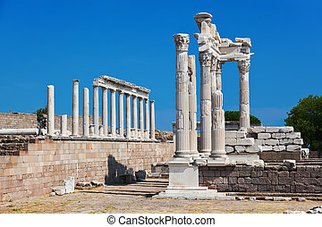 Temple of Trajan at Acropolis of Pergamon in Turkey - Temple...