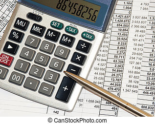 calculation - silver calculator with pen and calculations...