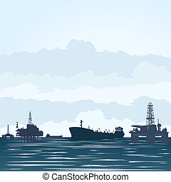 : Oil derricks and tankers - Oil derricks at the ocean and...