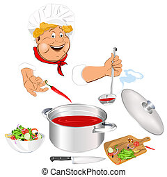 Funny Chef and fresh food - Funny Chef and fresh vegetable...