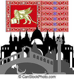 Venice - Flag and architecture of Italy Venice Illustration...