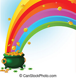 Pot of Gold and rainbow - Pot full of golden coins and the...