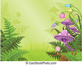 Magic landscape - Magic landscape with mushrooms and flowers...