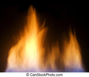 fire flames over black background