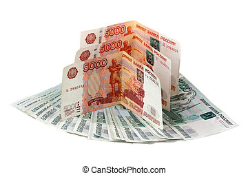Russian money are isolated on a white background