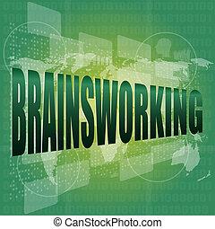 parola, schermo,  brainsworking, fondo, tocco, tecnologia