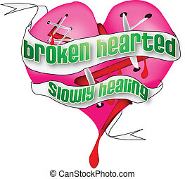 Broken Heart with Banner - Vector graphics are graphics that...
