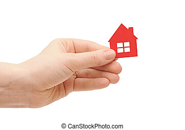 house icon in women's hand