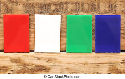 Collection of colorful banner on wooden background