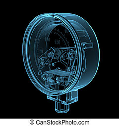 Pressure gauge 3D x-ray blue transparent isolated on black