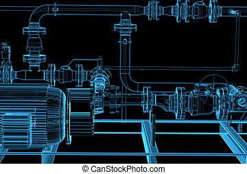 Piping 3D xray blue transparent