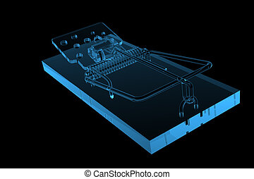 Mouse Trap 3D xray blue transparent