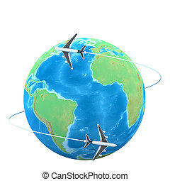 3d Planes flying around the globe