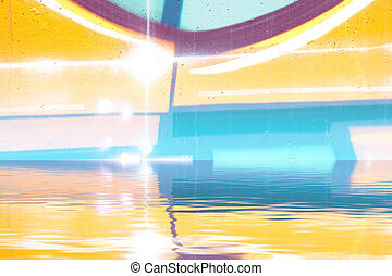 Background wall with graffiti reflection in  water, artistic urban picture