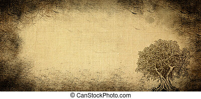 Aged background with tree - Aged textile material background...