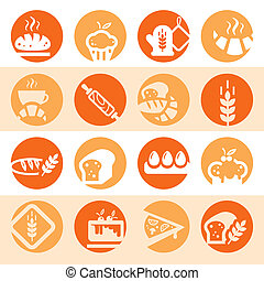 color bakery icons - Elegant Colorful Bakery Icons Set...