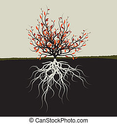 Tree with roots - Graphic illustration of tree with roots