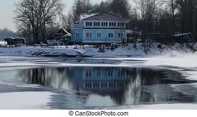House on the river bank - home on the bank of the Neva river...