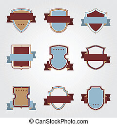 Vintage heraldry shields and ribbons retro style set